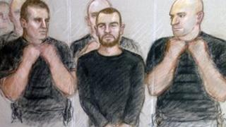 Court drawing of Dale Cregan at Manchester Magistrates' Court
