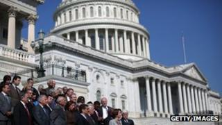 House Minority Leader Nancy Pelosi and members of the Democratic House caucus on the steps of the US Capitol on 21 September 2012.