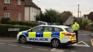 The scene of the stabbing in Roundhill Way, Guildford