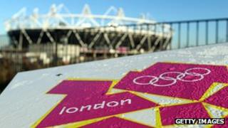 London 2012 logo and Olympics stadium in the background.