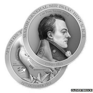 Memorial coins remembering Guernsey man and Canadian military hero Maj Gen Sir Isaac Brock