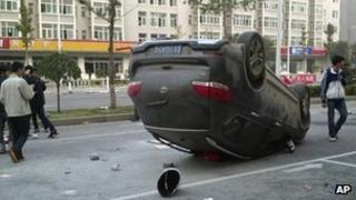 Overturned car near Foxconn plant