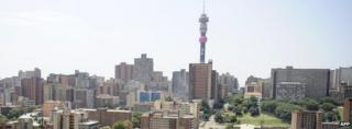 South Africa's downtown Johannesburg in February 2012