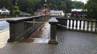 High water level at Oldgate bridge in Morpeth