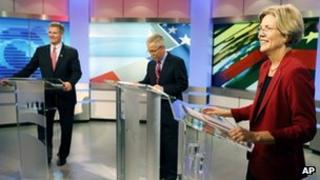 Scott Brown and Elizabeth Warren in a debate on 20 September 2012