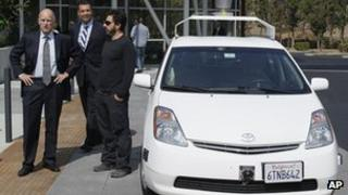 Jerry Brown with Sergey Brin and Google driverless car