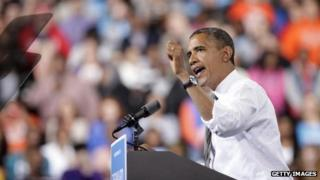 President Barack Obama gives a speech in Bowling Green, Ohio 26 September 2012