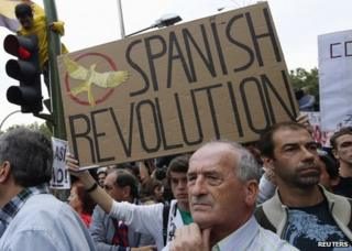 Anti-austerity protesters in Madrid, 25 September