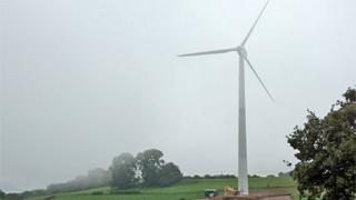 The 500kW wind turbine in situ
