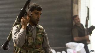 Rebel fighter in Aleppo, 28 September