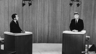 Richard Nixon and John F Kennedy at a 1960 presidential debate