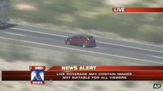 A video grab provided by Fox 10 News shows a vehicle involved in a police car chase west of Phoenix, 28 September