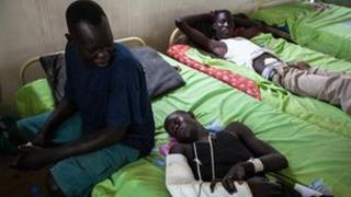 South Sudanese troops in hospital after the August attack by rebels