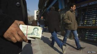 Money exchanger in Tehran, Iran