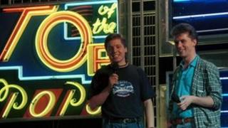 Mark Goodier and Nicky Campbell presenting Top of the Pops in 1988