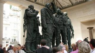 Crowds around Bomber Command memorial after its dedication on 28 June 2012