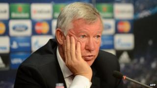 Man Utd boss Sir Alex Ferguson talks at a press conference