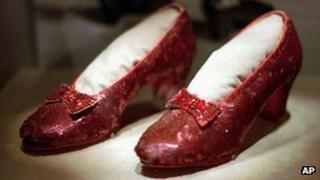 Ruby slippers worn by Judy Garland in The Wizard of Oz