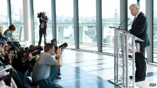Boris Johnson speaks at a press conference