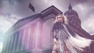 Woman in front of the Council House in Nottingham