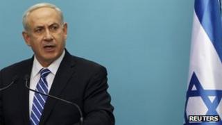 Israel's Prime Minister Benjamin Netanyahu speaks during a news conference in Jerusalem (9 Oct)