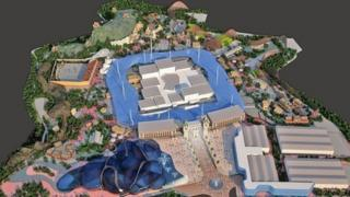 Computer-generated image of proposed entertainment resort