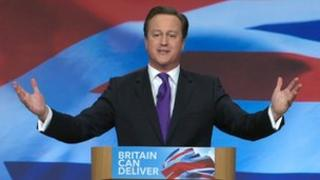 David Cameron speaking at Conservative conference 2012