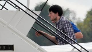 Jeremy Forrest boarding an aircraft in Bordeaux