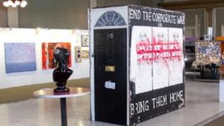 The plinths are on display part the Peace Project show at central London's Gallery Different.