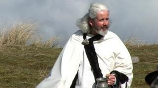 Local actor Colin Retallick as St Piran
