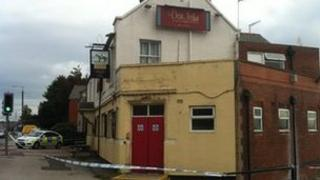 Police cordon placed in front of the Don Jon Hotel pub