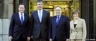 David Cameron, Michael Moore, Alex Salmond and Nicola Sturgeon