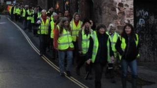 Anti-badger cull walkers in Dunster