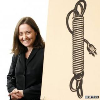 "Barbara Castelli with Lichtenstein's ""Electric Cord"". 16 Oct 2012"