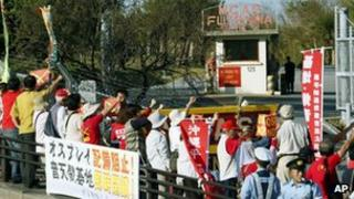 Local residents rally against deployment of Osprey aircraft at Futenma air base, Okinawa, on 4 Oct 2012