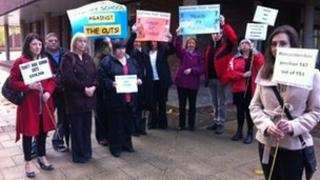 Demonstration at County Hall in Worcester about school funding