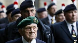 Veterans from the Royal Regiment of Fusiliers outside Parliament