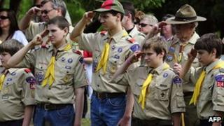 Members of the Boy Scouts of America salute in Hudson, Wisconsin, May 2009