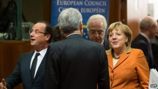 French President Francois Hollande and German Chancellor Angela Merkel arriving at EU summit in Brussels, 18 Oct 12