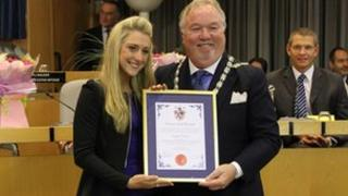 Laura Trott and Mayor of Broxbourne, Councillor Eddie Rowland