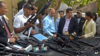 Police seized heavy weapons in the house in Sosua, Dominican Republic