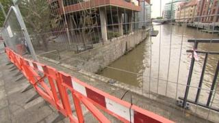 Damaged barriers at St Philips Bridge over the River Avon in Bristol