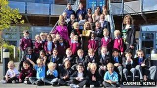 Oxley Park Academy staff and pupils