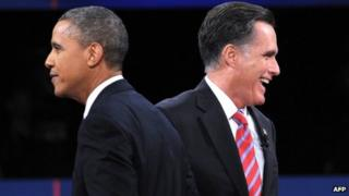 Barack Obama (left) and Mitt Romney in Boca Raton, Florida 22 October 2012