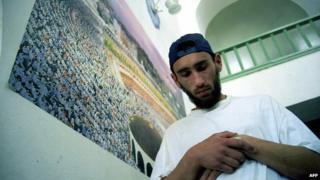 Crimean Tatar praying in a mosque in Ukraine