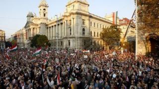 Government supporters outside parliament in Budapest