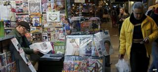 Newspaper stall in central Montevideo