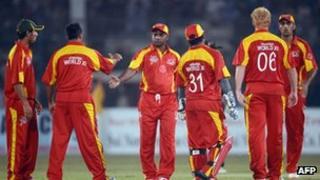 International World XI players in Karachi at the weekend
