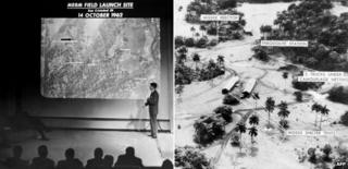 Aerial photograph shown at Washington news briefing