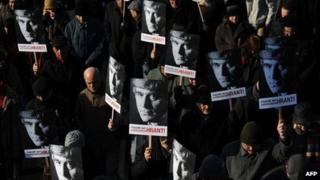 Friends of Hrant Dink on march in Istanbul in January 2012